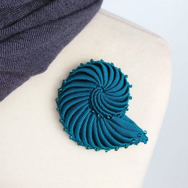 Turquoise Pleated Ribbon Brooch with Beads