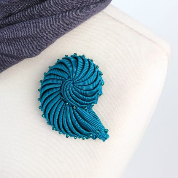 Turquoise Ribbon Nautilus Shell Brooch with Beads