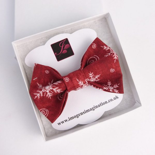 Wine Red Christmas Snowflake Bow Hair Clip