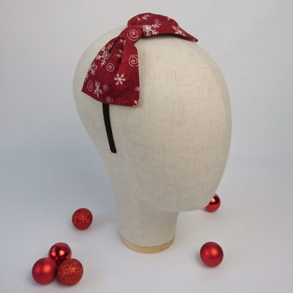 Wine Red Christmas Womens Headband