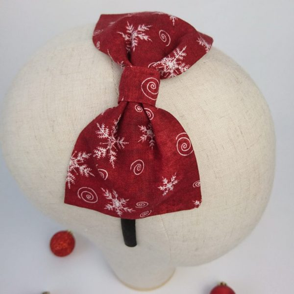 Wine Red Christmas Girls Bow Headband