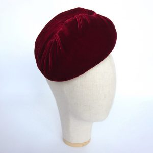 Red Velvet Hat for an autumn or winter wedding guest