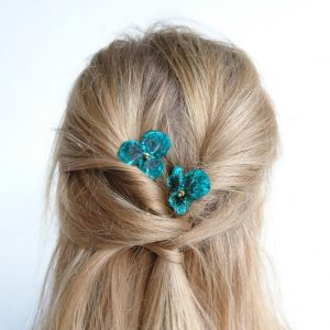 Teal Pansy Flower Hair Clips