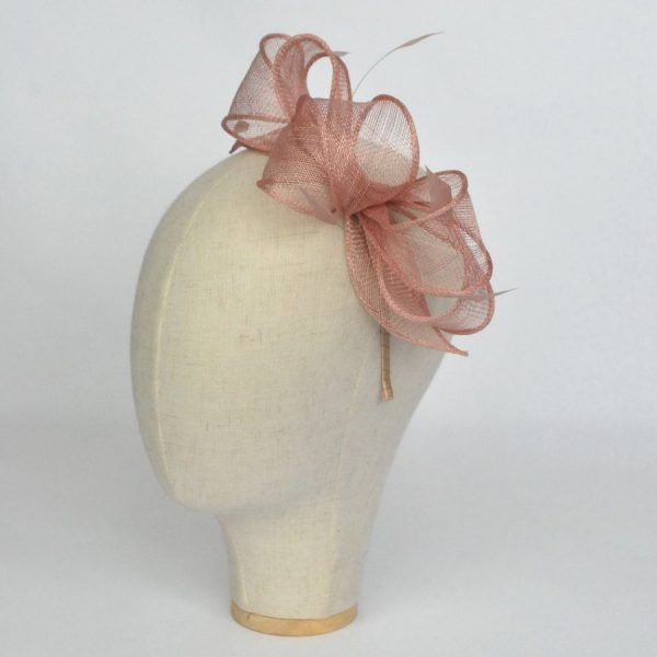 Latte sinamay fascinator for race days and weddings