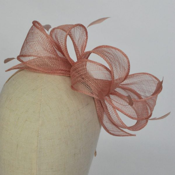 Sinamay wedding fascinator with loops and feathers