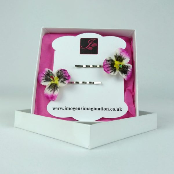 Pink pansy flower hair accessories for girls