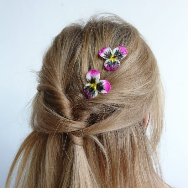 Pink Yellow White Pansy Flower Hair Clips