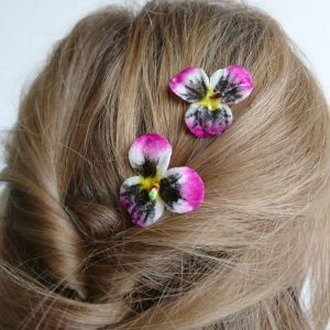 Pink flower hair accessories for women and girls