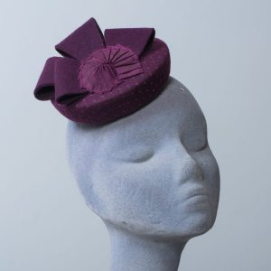 Plum Purple Felt Hat with Felt Loops and Ribbon Shell
