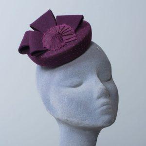 Plum Purple Felt Hat with Felt Loops and Ribbon Shell