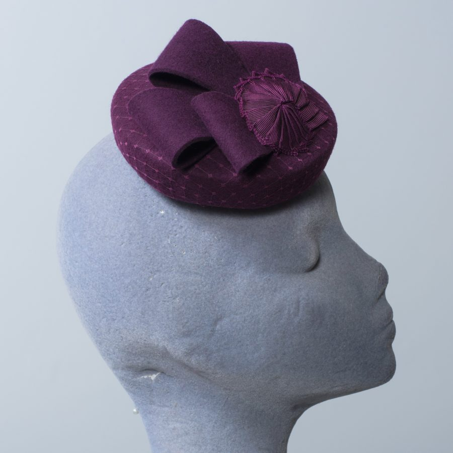 Duck egg blue and black pleated ribbon button hat with bow
