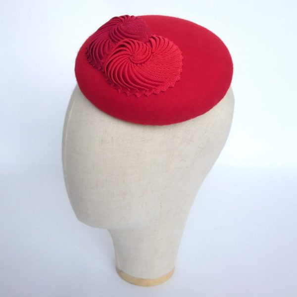Red hat for autumn or winter wedding guests