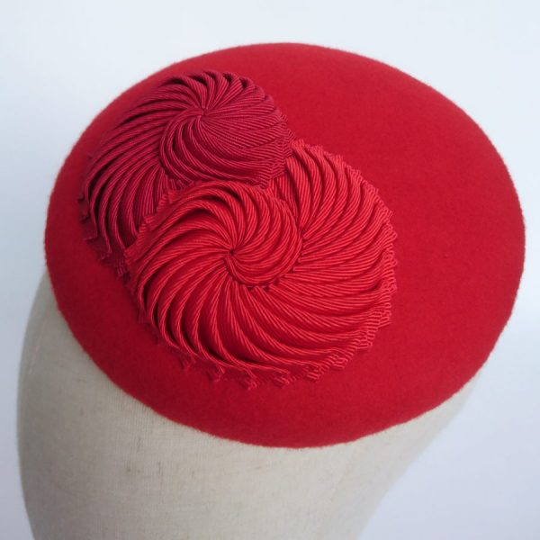 Red Felt Button Hat with Nautilus by Imogen's Imagination