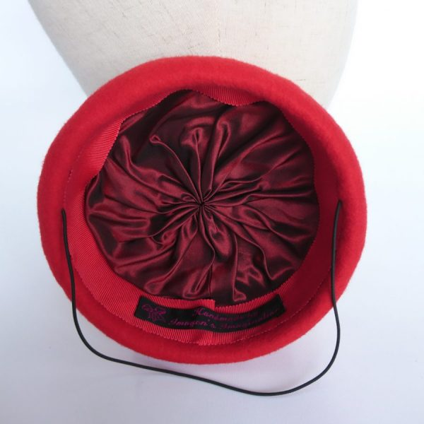 Red felt hat with silk lining millinery techniques by Imogen's Imagination