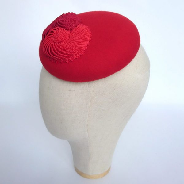 Red felt race day hat for autumn and spring