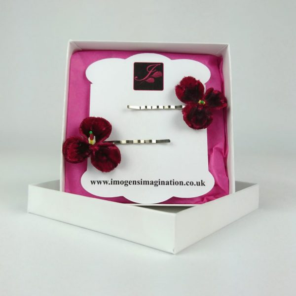 Red Flower Hair Pins in a gift Box