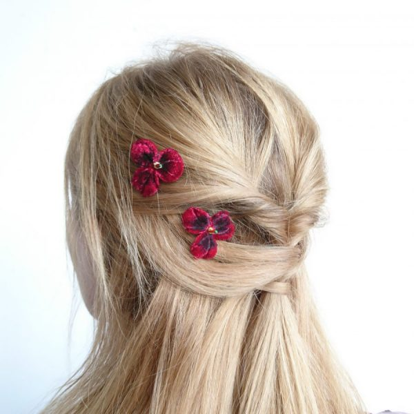 Ruby Red Pansy Hair accessories
