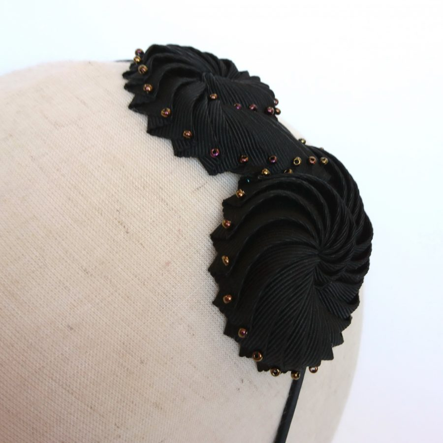 Black Ribbon and Bronze Bead Shell Headband