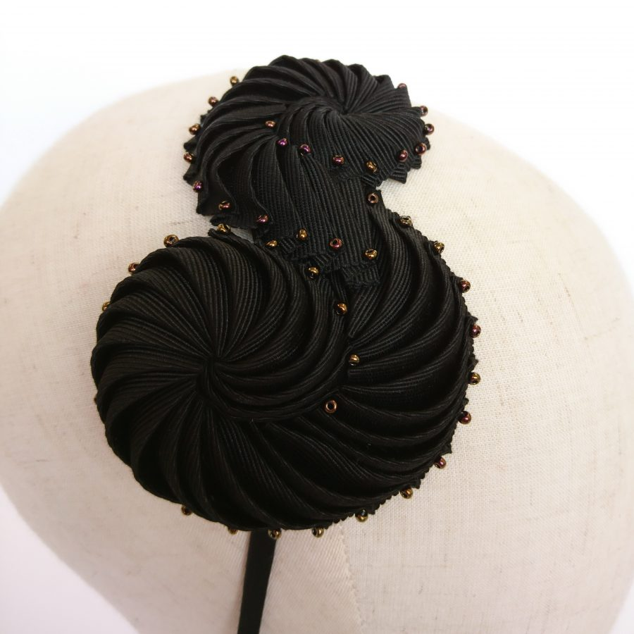 Black Pleated Ribbon Headband with Bronze Beads