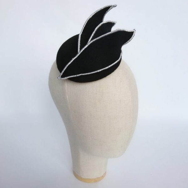 Black Felt Hat with Silver Embroidered Leaves