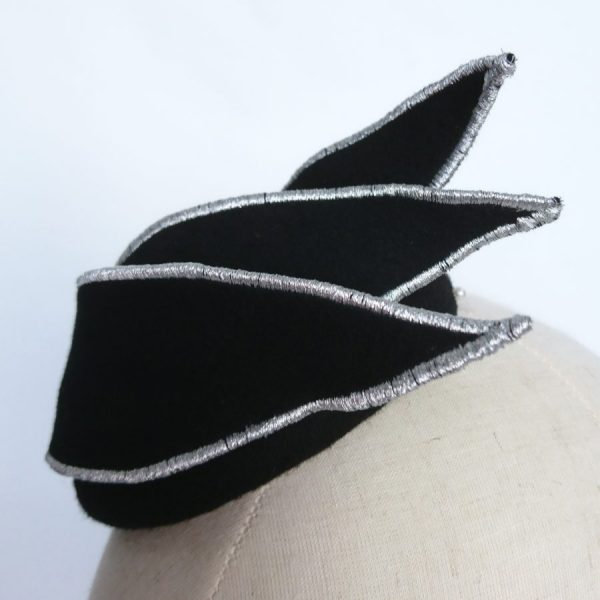 Small black cocktail hat for formal occasions