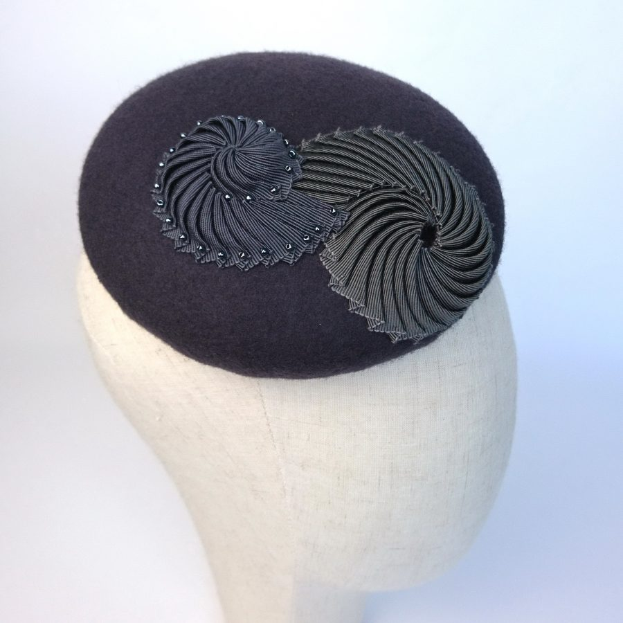 Grey Felt Button Hat with Ribbon Nautilus Duo available to buy at London Hat Week