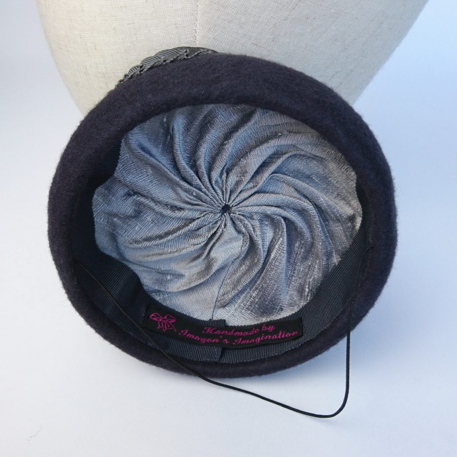 Couture millinery lining of a felt hat available to buy at London Hat Week