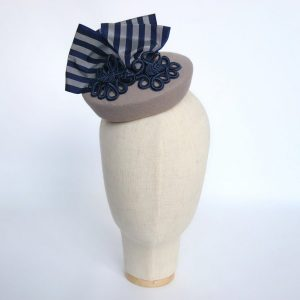 Grey Felt Hat with Navy Stripe Ribbon and Motif