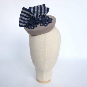 Grey Felt Hat with Navy Stripe Ribbon and Motif