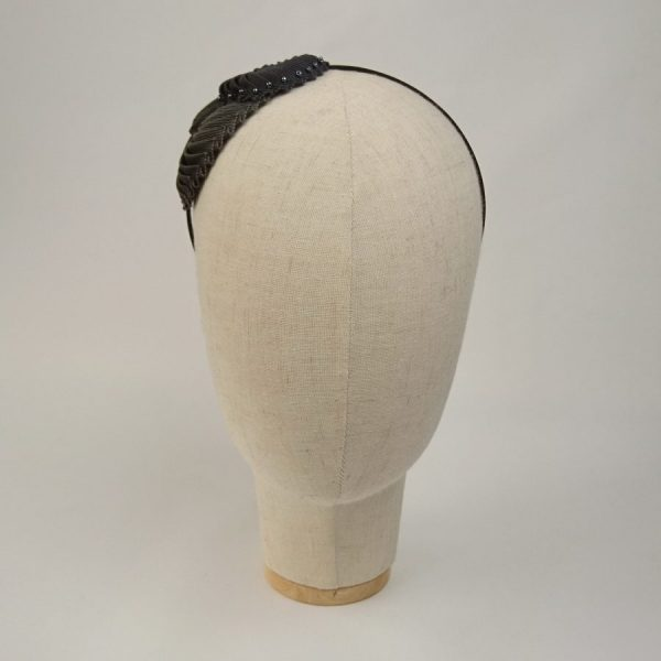 Pleated Ribbon Shell Headband with beads