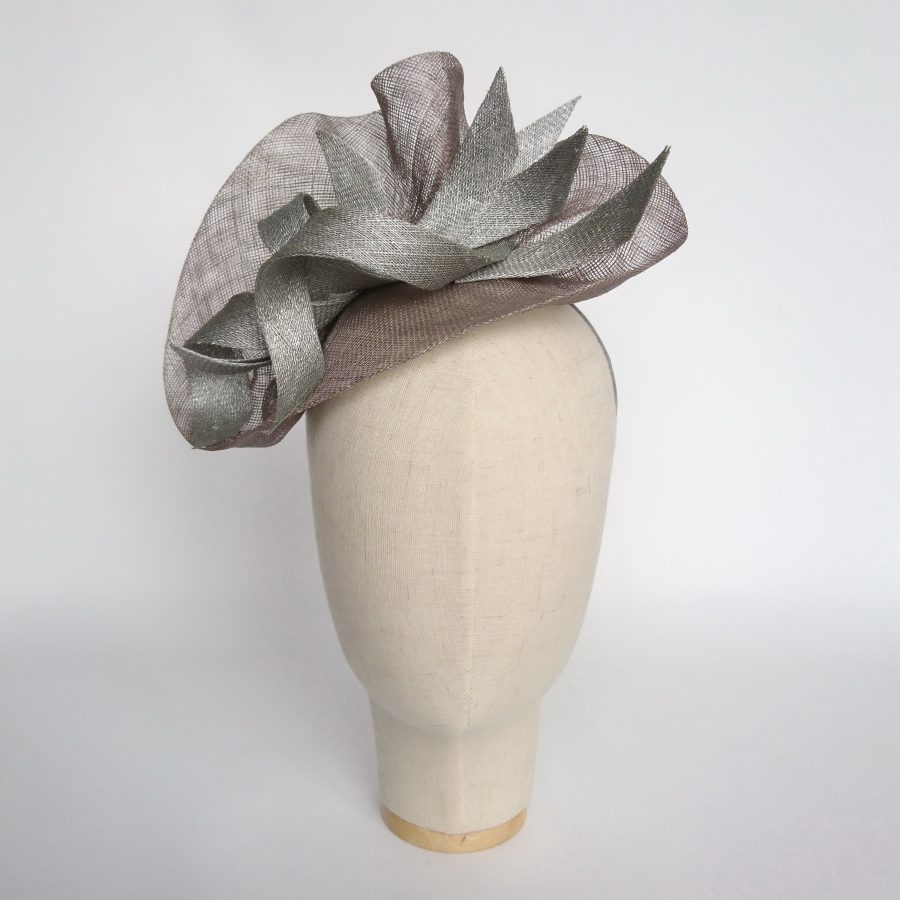 Pewter Sinamay Saucer Fascinator with Silver Curls