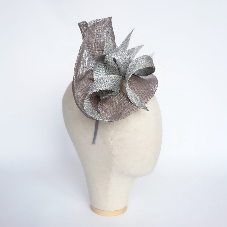 Grey and Silver Sinamay Fascinator by Imogen's Imagination