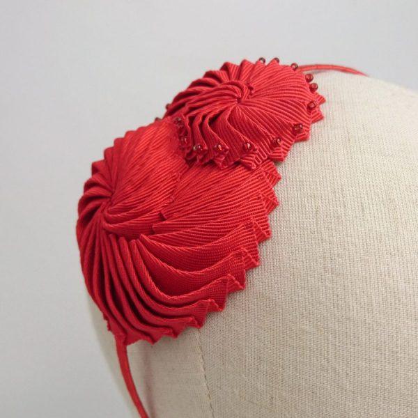 Pleated Ribbon Shell Headband with beads