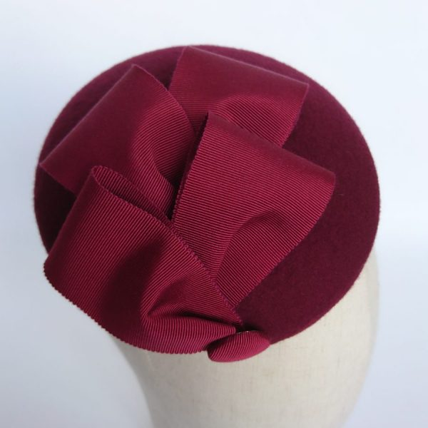 Red felt cocktail hat by Imogen's Imagination