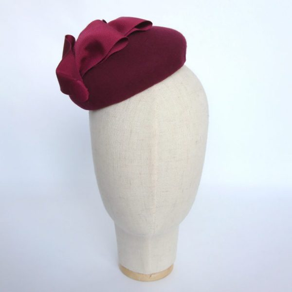 Wine Red Felt Button Hat with Ribbon Loops