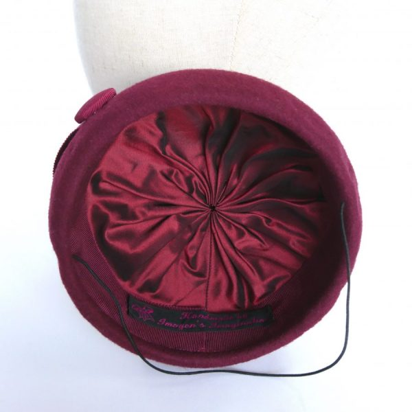 Millinery by Imogen's Imagination couture silk lining of a hat
