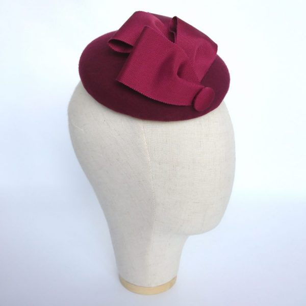 Spring race day hat in wine red felt by Imogen's Imagination