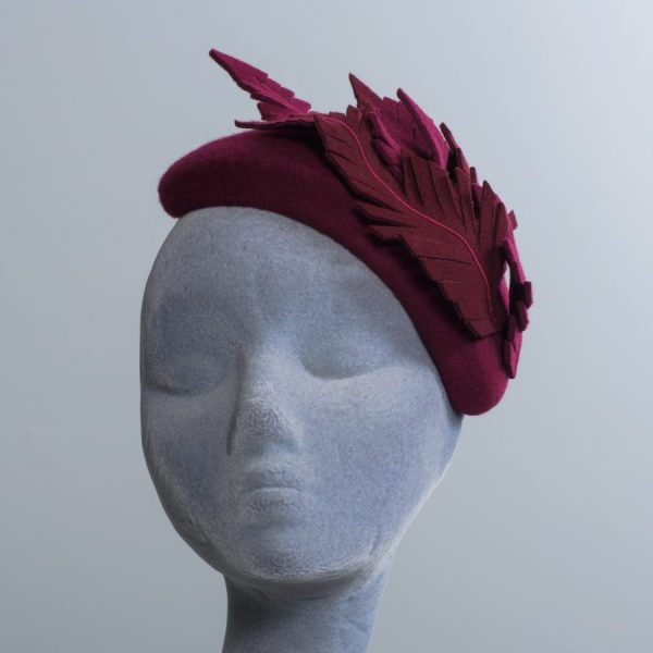 Wine Felt Half Hat with Felt Feathers