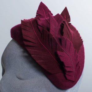 Wine Felt Half Hat with Felt Feathers