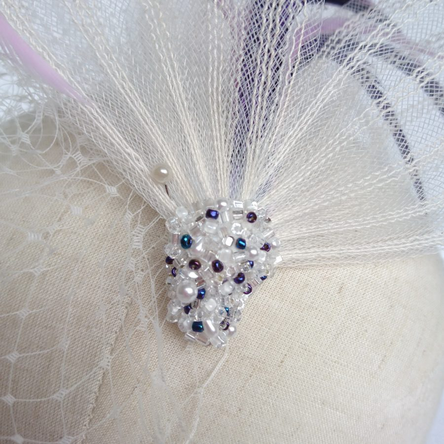 Ivory Crinoline Bridal Headpiece with Beading by Imogen's Imagination