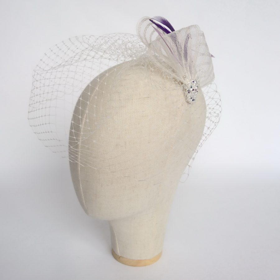 Ivory Crinoline Fascinator with Beading and a Midi Birdcage Veil​