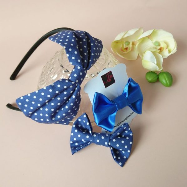 Bow Fringe Fixer Sets - Blue Polka Dots