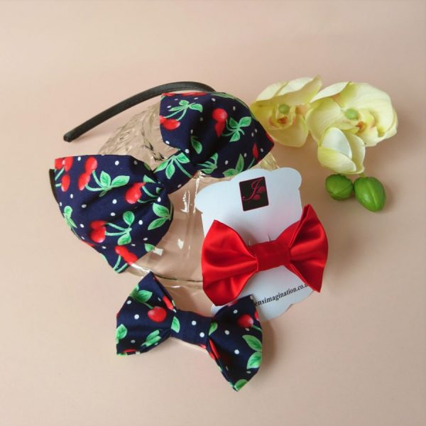 Bow Fringe Fixer Sets - Navy Cherries