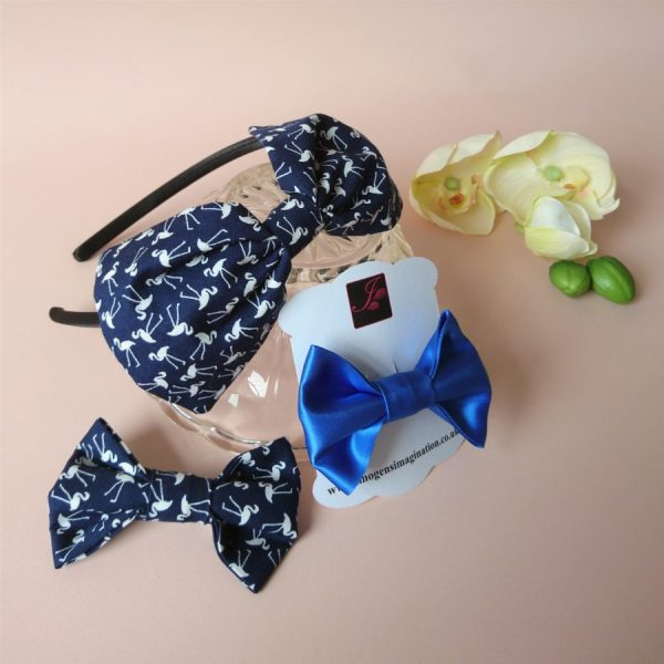 Bow Fringe Fixer Sets - Navy Flamingos