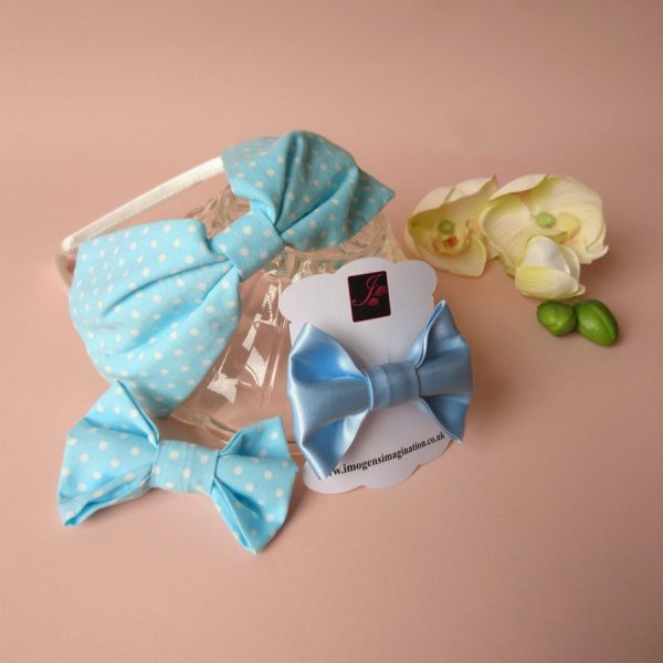 Bow Fringe Fixer Sets - Pale Blue Polka Dots