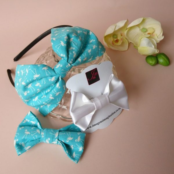 Bow Fringe Fixer Sets - Turquoise Flamingos