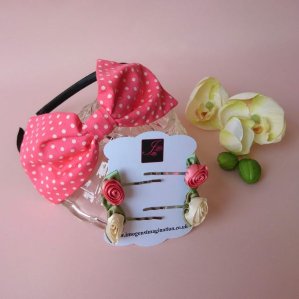 Coral Polka Dot Headband Set