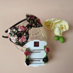 Floral Fringe Fixer Sets - Black and Pink