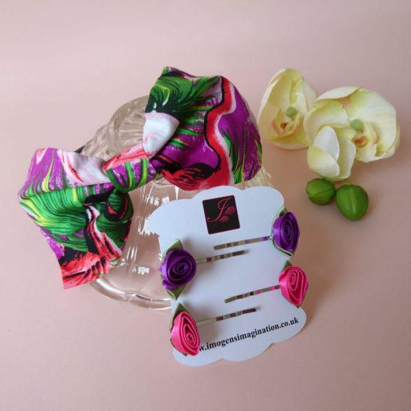 Purple Flamingo Headband Set