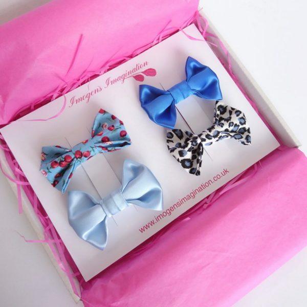 Blue Bow Hair Clip Set